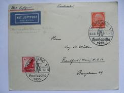 GERMANY 1935 Cover - Hamburg Hansaposta Water Carrier Sonderstempel - Air Mail To Frankfurt - Allemagne