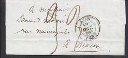FR - 1844 - Lettre De Lyon à Destination De Macon - Taxe Manuscrite 33 - TB - - Marcophilie (Lettres)