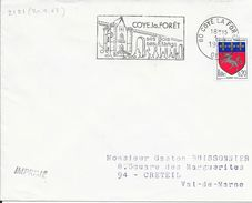 OISE 60 -  COYE LA FORET  - FLAMME N° 2121 - COYE LA FORET SES BOIS SES ETANGS   - 1968   BELLE FRAPPE - Postmark Collection (Covers)