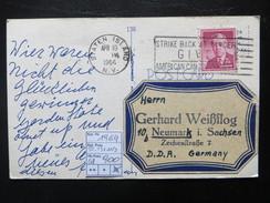 """1964  """" Karte In Die DDR """"  Nr. 661 Gestempelt STATEN ISLAND Nach Neumarkt I. Sachsen   LOT 900 - United States"""