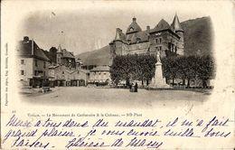 CPA - DOS NON DIVISE - VIZILLE-LE MONUMENT DU CENTENAIRE & LE CHATEAU -ND PHOT. -OBLIT. 15 AVRIL 1900-GRENOBLE/ 10 SAGE - Vizille