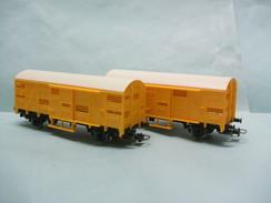 Jouef - Lot 2 WAGONS COUVERTS A BESTIAUX Jaunes Transport Bétail HO 1/87 - Wagons Marchandises