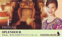 Télécarte  JAPON * SINGAPORE AIRLINES   (2261)  STEWARDESS * Phonecard JAPAN * Airplane * Flugzeug AVION * AIRLINES * - Flugzeuge