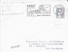 DROME 26-  CREST  - FLAMME N° 1717   - 1967  -  CREST / ET SA TOUR / ZONE INDUSTRIELLE  - - Postmark Collection (Covers)