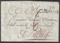 """FR - 1822 - Griffe Linéaire """"70Macon"""" Taxe Manuscrite 6 Sur Pli Pour Paris - B/TB - - Marcophilie (Lettres)"""