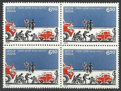 Traffic Safety 1991 Road Safety Cars Trucks Cycle Transport MNH Block Of Four Health Accidents Accident - Accidents & Road Safety