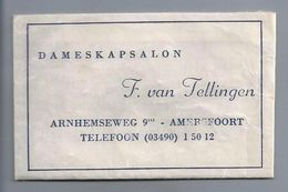 Suikerzakje.- Amersfoort. - DAMESKAPSALON - F. Van Tellingen, ARNHEMSEWEG 9  2 Scans. - Zucchero (bustine)