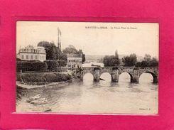 78 YVELINES, MANTES-la-JOILIE, Le Vieux Pont De Limay, Animée, Barques, 1935, (P. F.) - Mantes La Jolie