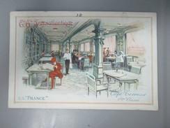CPA ILLUSTREE PAQUEBOT TRANSATLANTIQUE S.S FRANCE CAFE TERRASSE 1ERE CLASSE - Piroscafi