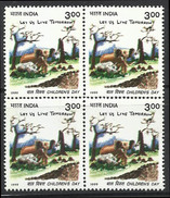 Indian Rhinoceros Rhino Elephant Child Art BLOCK Of 4 Wild Animal Wildlife Mammal Rhinozeros Rhinocéros Indien Dinosaur - Rhinozerosse