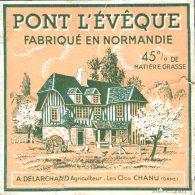 A. Delarchand Les Clos Chanu Orne Ancienne étiquette De Fromage Pont L'Evêque Fabriqué En Normandie - Fromage
