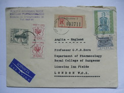 POLAND - 1957 Registered Krakow Cover Air Mail To London Multi-stamped - 1944-.... Republic