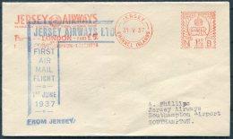1937 Jersey Airways First Flight Franking Machine Cover - London Southampton. Meter Mark - Jersey