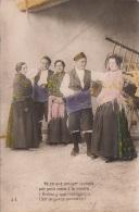 SPANIEN - Folklore, Kostüme, Karte Mit Spruch, Gel.195?, 2 Sondermarken - Spanien