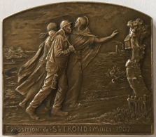 Médaille. L'Exposition St. Trond Mines 1907. G. Devreese. 66mm X 58 Mm - Professionali / Di Società