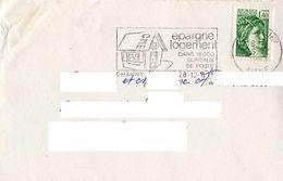 Sabine Gandon 2154 Sur Lettre Cachet CHAUNY  28/12/1981+ Flamme Salon EPARGNE LOGEMENT - Marcophilie (Lettres)