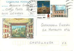 """Cartolina Postale """"Teatro Fortuna Fano Lire 800 1998"""", Illustrazione E. Donnini, Sipario F. Grandi 1863 - 1991-00: Marcophilia"""