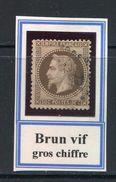 FRANCE- Y&T N°30- Brun Vif- Oblitéré Gros Chiffre - 1863-1870 Napoléon III. Laure