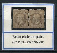 FRANCE- Y&T N°30a) En Paire- Brun Clair- GC 1205 (CRAON 51) - 1863-1870 Napoleone III Con Gli Allori
