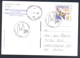Switzerland 2000 Postal Stationery Card; Sport Basketball Skate Board; Church St Gallen Junaphilex Philatelic Exposition - Enteros Postales