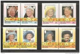 British Virgin Islands 1985 Queen Mother Birthday Set 8 In MNH Pairs - British Virgin Islands
