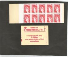 CARNET N° 1972 C3a  Numéroté  Mais  Ouvert Au Cutter Sur Pointillécote 140,00 - Usage Courant