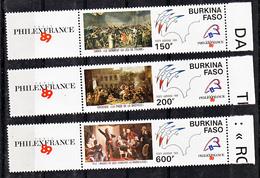 Burkina Faso PA 322 324 Vignette  Révolution Française Et Philexfrance Neuf ** TB MNH SIN CHARNELA  Cote 11 - Burkina Faso (1984-...)