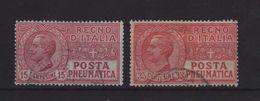 1927-38 Posta Pneumatica 15 C. 35 C. Serie Cpl - Usados