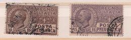 1913-23 Posta Pneumatica 10 C. 15 C. US - Usati