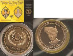 Malaysia 2007 1 Ringgit Nordic Gold Coin BU  Agong Trengganu Terengganu Sultan Mizan Rare - Malaysie