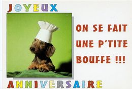 """CARTE HUMORISTIQUE  -  """"ON SE FAIT UNE P'TITE BOUFFE  !!! """" ( 269 )- Collection Best Of Card - Editions Paty & Sweety - Dogs"""