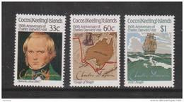 Cocos Keeling Island 1986 Darwin Visit Anniversary Set 3 MNH - Cocos (Keeling) Islands