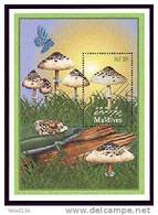 MALDIVES  2526 MINT NEVER HINGED SOUVENIR SHEET OF MUSHROOMS  #   202-4   ( - Pilze