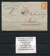 FRANCE- Lettre Du 2 Avril 1870 De BORDEAUX (32) Pour PARIS (60)-Y&T N°31- GC 532- DE ROTHSCHILD FRERES - 1849-1876: Période Classique
