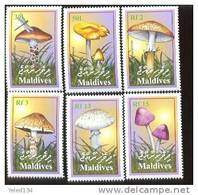 MALDIVES  2517-22 MINT NEVER HINGED SET OF STAMPS OF MUSHROOMS  #  S-202   ( - Pilze