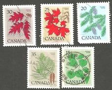 Sc. # 717-21 Tree Definitives Mid-Value  Set Used 1977-82 K476 - 1952-.... Règne D'Elizabeth II