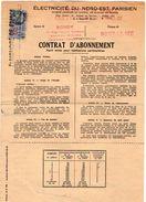 VP10.746 - 1948 - BONDY - NOISY LE SEC - Electricité De France - Contrat D'Abonnement - Electricity & Gas