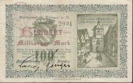 Notgeld 100 Milliarden Mark, Gutschein Der Stadt Ehingen A.d.Donau, 5.Nov.1923, Stadttor Und Sinnspruch - Lokale Ausgaben
