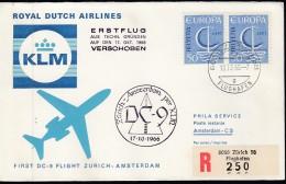 """KLM Erstflug Von Zürich Nach Amsterdam (KL 312), Mit DC-9, """"Flug...verschoben"""", CH 2x 844 Auf R-Brief 10.X.1966 - Erst- U. Sonderflugbriefe"""