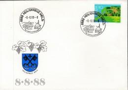 SCHWEIZ  1367 EF Auf Sonderumschlag Mit Sonderstempel: 8888 Heiligkreuz (Mels) 8.8.88 -8 Uhr, Schnapszahl !! - Marcophilie