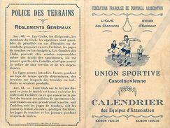 Ref 424- Sports -football -union Sportive Castelnovienne -chateauneuf -charente -calendrier Des Equipes - Zonder Classificatie