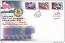 TABLE TENNIS-TISCHTENNIS-PING PONG-TENNIS DE TABLE-TENNIS TAVOLO, MALAYSIA, 2000, FDC / Special Postmark  !! - Tennis Tavolo