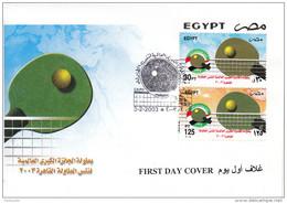 TABLE TENNIS-TISCHTENNIS-PING PONG-TENNIS DE TABLE-TENNIS TAVOLO, EGYPT, 2003, FDC / Special Postmark !! - Tennis Tavolo