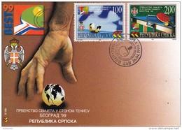 TABLE TENNIS-TISCHTENNIS-PING PONG-TENNIS DE TABLE-TENNIS TAVOLO, YUG, 1999, Special Postmark !! - Tennis Tavolo