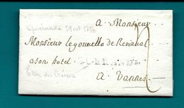 Loire Inférieure  - Guérande Pour Vannes (Morbihan). 1780. LAC Ecrite Au CROISIC. Cote 140euros - Marcophilie (Lettres)