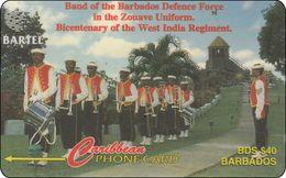 Barbados Phonecard  Band Of The Barbados Defence Force Music - Barbados