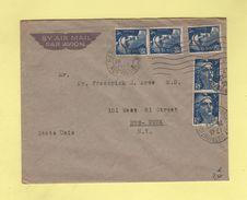 Marianne De Gandon - Destination New York 5f X5 - Paris 26-12-47 - Marcophilie (Lettres)