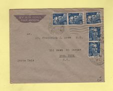 Marianne De Gandon - Destination New York 5f X5 - Paris 26-12-47 - Postmark Collection (Covers)