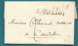 Seine Inférieure - Yvetot Pour Caudebec. MP 74/YVETOT. 7 Sur Le E. Indice 6.1827 - Postmark Collection (Covers)