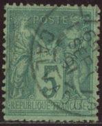 France 1876 Yv. N°75f - 5c Vert Sur Verdâtre Sage Type II - Oblitéré - 1876-1898 Sage (Tipo II)